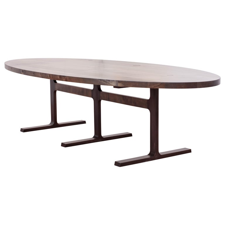 Bronze Shaker Table in Oxidized Maple and Blackened Cast Bronze For Sale