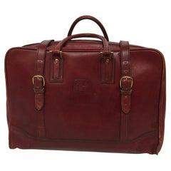 """Vintage Leather Travel Bag """"La Bagagerie Paris"""" Burgundy Bordeaux Luggage 1970"""