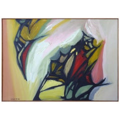 Large Abstract Oil Painting on Canvas by Arnold Weber, 1966