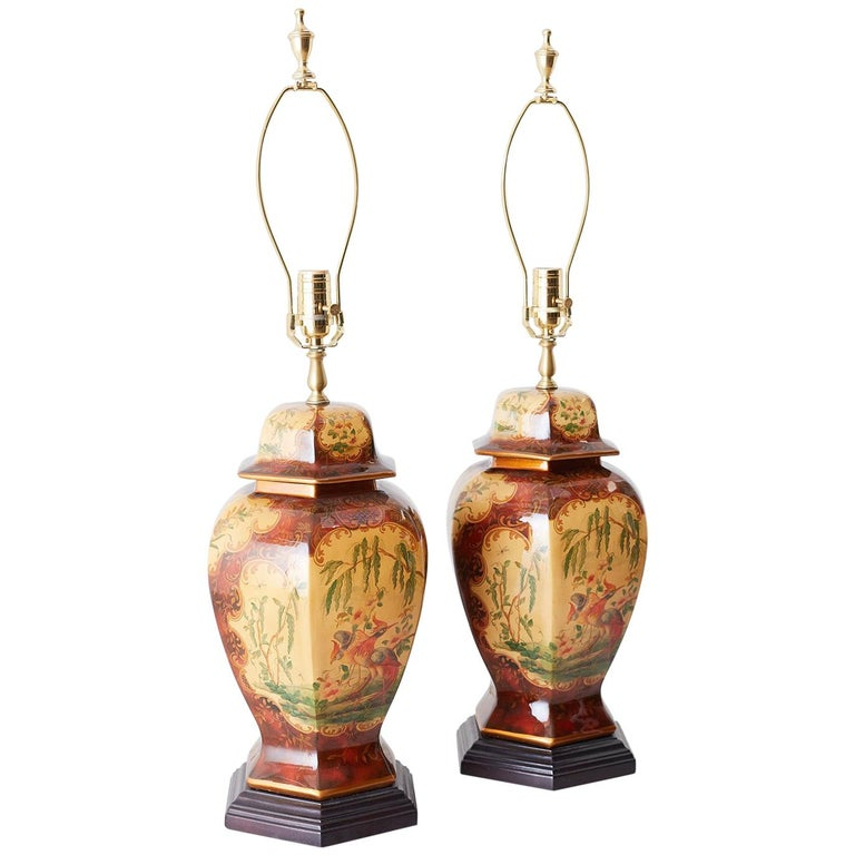 Pair of Chinoiserie Glazed Ginger Jar Table Lamps For Sale