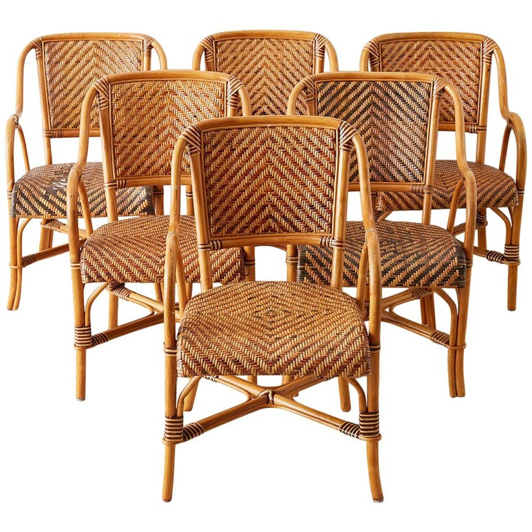 Woven French Bistro Style Rattan Dining Chairs For Sale