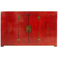 Antique Chinese Red Lacquer Cabinet with Brass Hardware