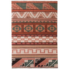 North American Woven Geometric Textile Mounted Panel