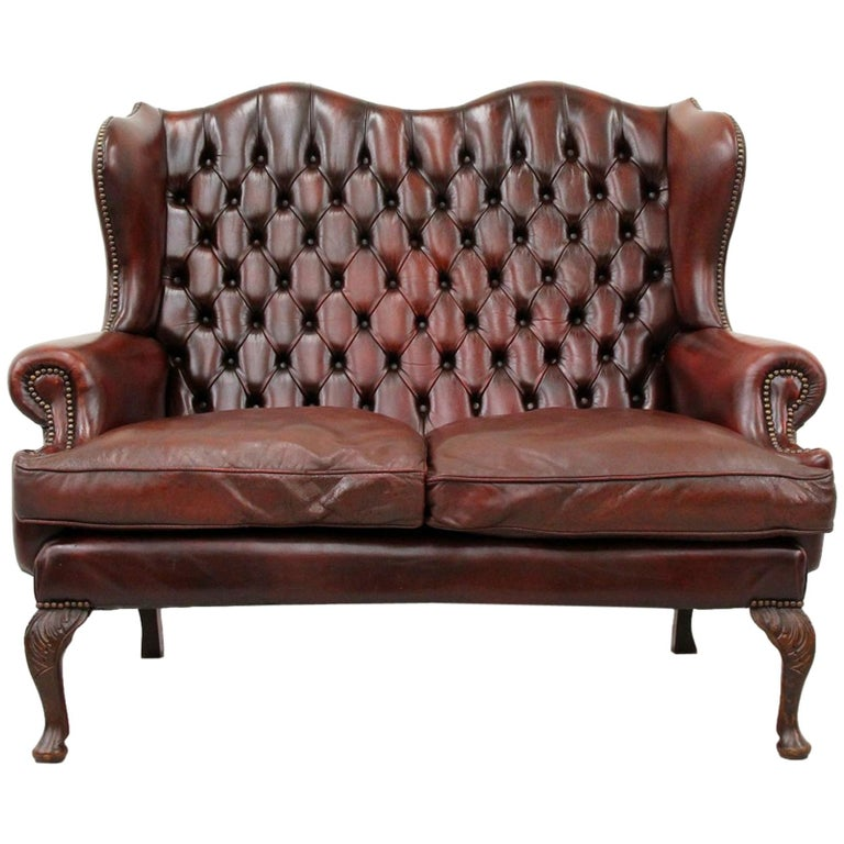Chesterfield Chippendale Sofa Leather Antique Vintage Couch English For