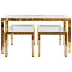 Set of Midcentury Italian Brass and Chrome Console and Side Tables by Romeo Rega