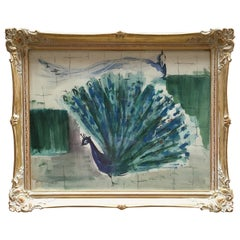 1950s Watercolor Painting of Peacock