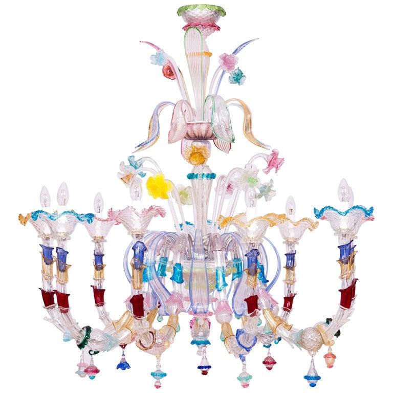 Italian Venetian Ca Rezzonico Chandelier, Blown Murano Glass, Multicolored, 1960 For Sale