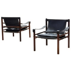Pair of Arne Norell Sirocco Safari Chairs in Rosewood and Leather, Sweden, 1964