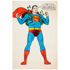 Original Vintage Superman Poster Ft Comics Superhero Free from Kryptonite Chains