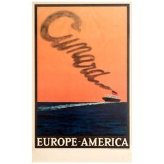 Original Vintage Transatlantic Cruise Ship Travel Poster - Cunard Europe America