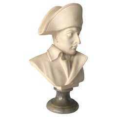 Late 20th Century Hand Carved Alabaster Napoleon Bust Statue on Marble Base
