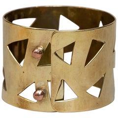 Ana Greta Eker Scandinavian Modern Bracelet in Brass, Norway, 1960s