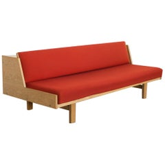 Mid-Century Sofa Bed GE-258 in Oak and Red Fabric by Hans Wegner for GETAMA
