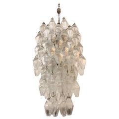 Italian Murano 1950s Poliedri Glass Chandelier