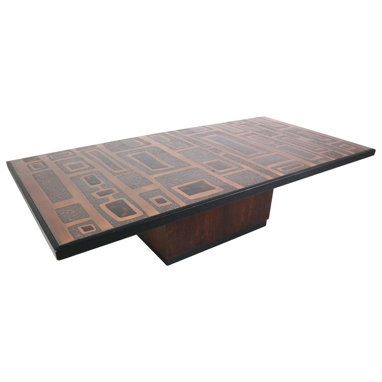 Heinz Lillienthal Copper plated Coffee Table, Germany, 1970 For Sale