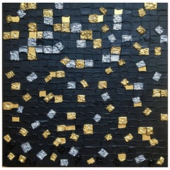 Grid 4 by Liora Square Abstract Canvas Contemporary Silver Black Gold Painting