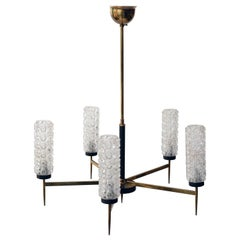 Vintage Brass and Glass Chandelier, 1960s