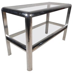 Mid-Century Modern Two-Tier Metal Console Table