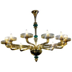 Venini Murano Chandelier Amber and Emerald Handblown Glass, 1960