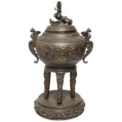 Japanese Bronze Dragon and Phoenix Incense Burner