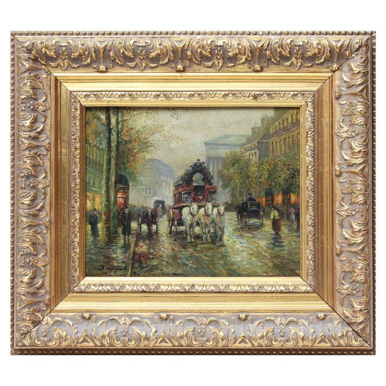 Albert Munghard Oil Painting of Paris Street Scene For Sale