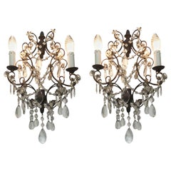 Pair of 20th Century Italian Wall Lights Wrought Iron Two-Light Tuscan Sconces