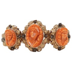 Antique Bracelet in Rose Gold Diamonds and Cameos in Coral