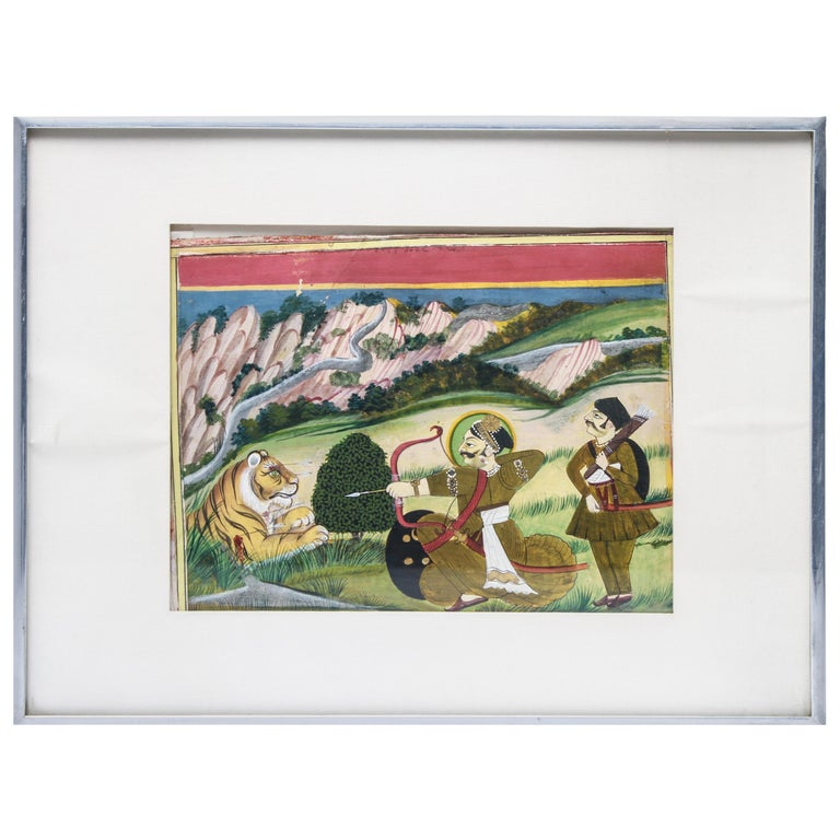 East Indian Gouache Painting of Archer and Tiger For Sale