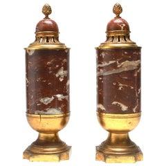 Gilded Age Garniture Urn Set in Red Marble