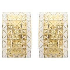 Pair of Faceted Crystal Sconces by Kinkeldey