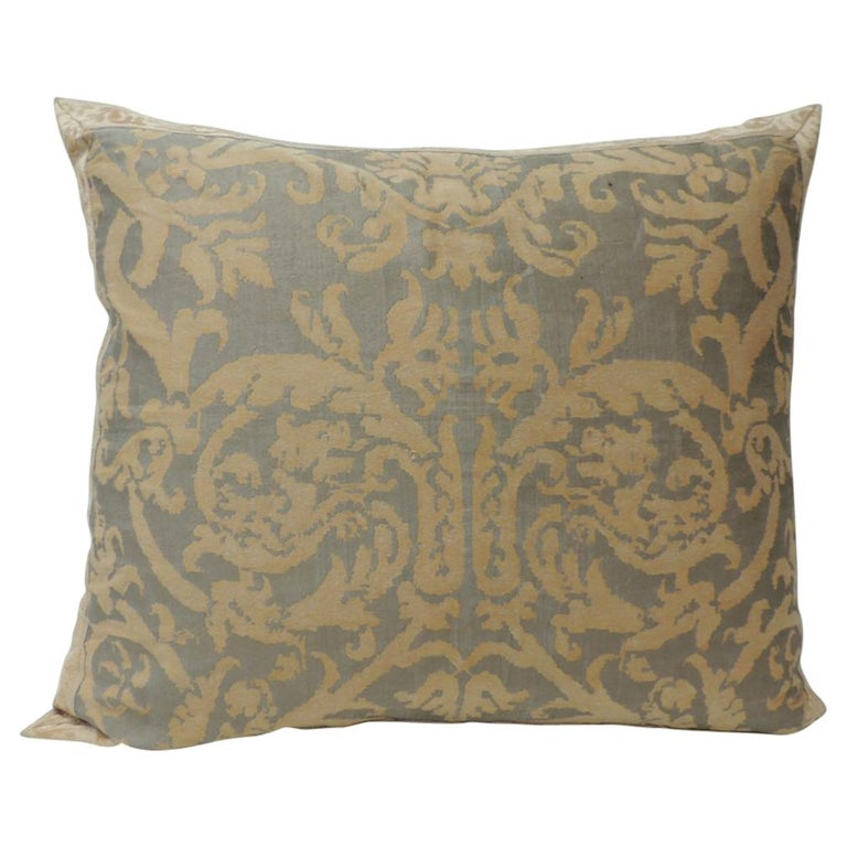 """Vintage Fortuny """"Pergolesi"""" Peach on Silvery Decorative Bolster Pillow For Sale"""