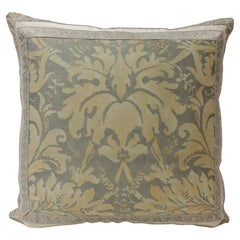 "Vintage Fortuny ""Lucrezia"" Yellow on Silvery Decorative Pillow"