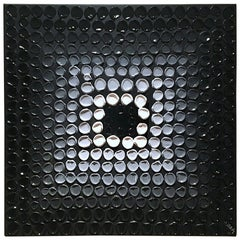 Black Hole 5 by Liora Textured Square Abstract Canvas Contemporary Painting