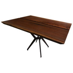 Dining Table Made From Solid Walnut with Sleek Steel Legs in Brushed Bronze