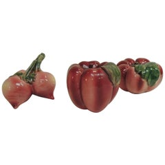 Set of 3 Red and Pink Handcrafted Vegetables Figures