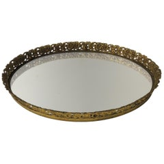 Vintage French Filigree Large Oval Brass Vanity Tray with Mirror