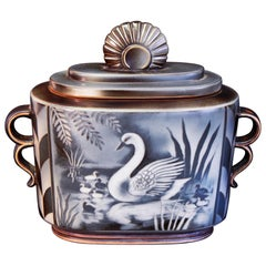 """""""Swans and Cygnets,"""" Important Art Deco Covered Jar by Nylund, Sweden"""