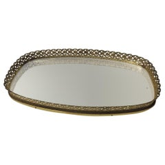 Vintage French Filigree Medium Oval Vanity Tray with Mirror