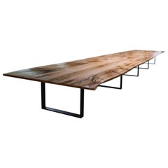 Giant Live Edge Dining Table Made from Solid Maple with Black Steel Legs