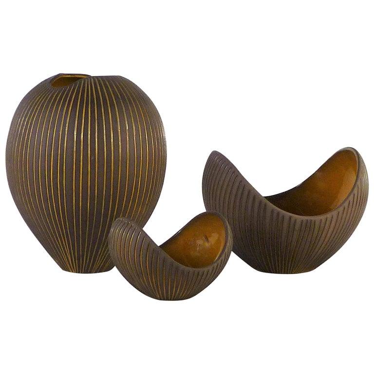 Trio Modern Kokos / Coconuts Vases by Hjordis Oldfors, Upsala-Ekeby, Sweden 1954 For Sale