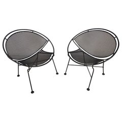 Pair of Midcentury Salterini Iron Hoop Patio Chairs