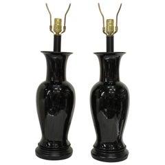 Pair of 1950s High Gloss Black Ginger Jar Lamps