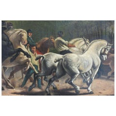 19th Century Painting of Men on Horses by Paul Powis