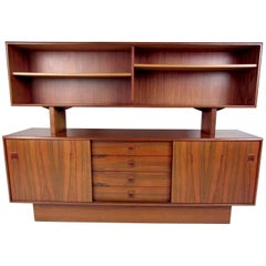 Scandinavian Modern Rosewood Sideboard with Cupboard Top Bookshelf