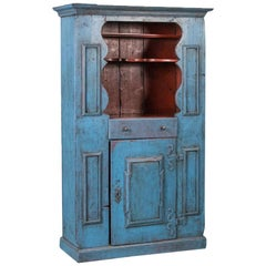 Antique 19th Century Swedish Country Cabinet Painted Blue