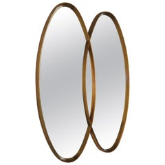 1960s Gilt Oval Intersected Mirror