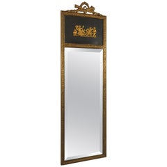1950s French Brass Classical Small Trumeau Mirror