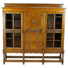 Antique Tiger Oak Bookcase, Three-Door Bookcase, Scotland, 1920