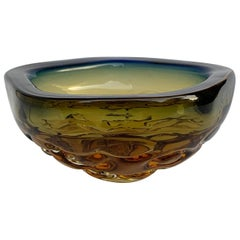 Blue and Amber Glass Bowl or Ashtray, Murano Glass Sculpture, Italy, 1960s