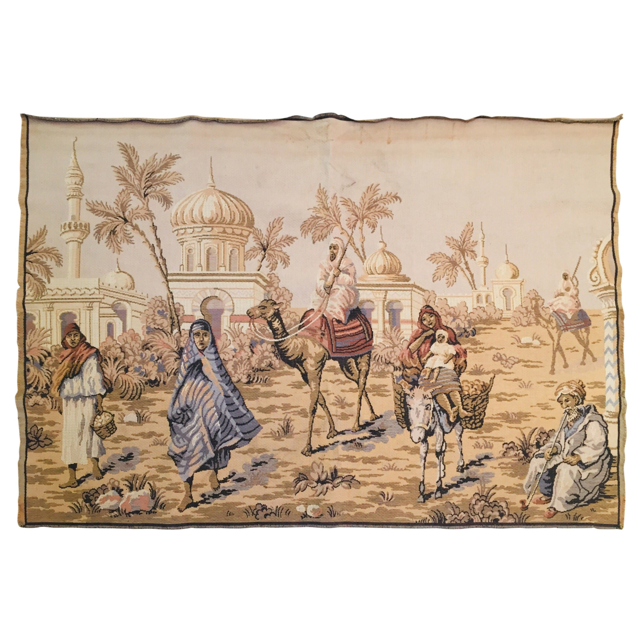 Large Tapestry with an 19th Century Orientalist Scene and Moorish Architecture